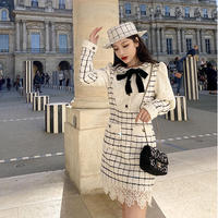 Classical check tweed docking dress(No.302038)