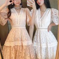 Margaret lace line A-line dress(No.301282)【white , pink , cream】