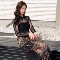 Sensual lacy black long dress(No.301042)