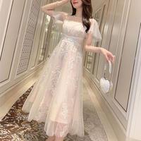 Chiffon tulle hearty long dress(No.300747)