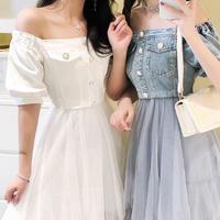 Denim off-shoulder tulle long dress(No.301236)【mint , white , blue】
