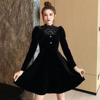 Lady chic velour black dress(No.301573)