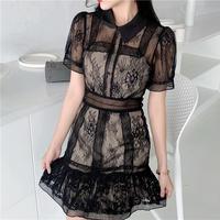 Lady flower crochet dress(No.301244)