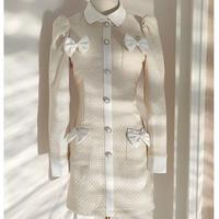 Idol look ribbon piping dress(No.031025)【cream】
