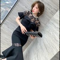 Romantic wave black midi dress(No.302180)