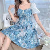 Cinderella like puff sleeve flare dress(No.302258)