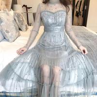 一部即納❤︎Dot pearl tulle long dress(No.300978)【2color】