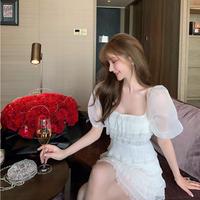 Back ribbon white frill dress(No.301446)