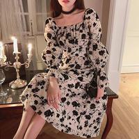 Vintage fleur design sleeve long dress(No.031003)
