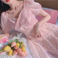 Peach pink satin docking flare dress(No.302165)