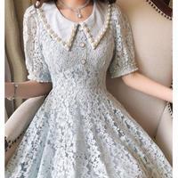 Pearl bijou collar lace dress(No.301316)【white , pink , purple , blue】
