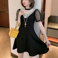 Dot pattern lace lady dress(No.301291)