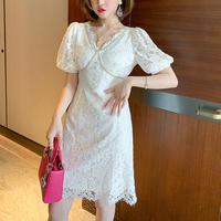 Puff sleeve lady lace dress(No.301222)