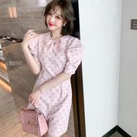 Creamy pink dot box sleeve dress(No.302129)