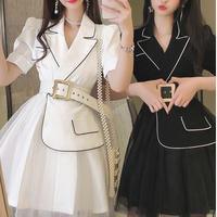 Mono docking tulle belted dress(No.301369)【2color】