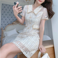 Simple lady pearl button dress(No.301478)