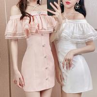 Pearl neck idol look dress(No.302244)【3color】