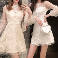 Fairy lace balloon sleeve dress(No.300962)【3color】