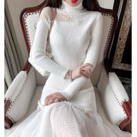 Décolleté cutting long knit dress(No.300924)【2color】