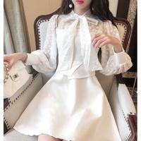 Monotone ribbon tie dress(No.300966)【2color】