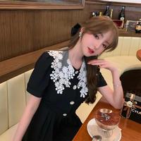 Big lace collar black dress(No.301362)