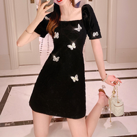Butterfly point puff sleeve dress(No.301270)