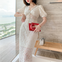 Lady cutting lacy puff sleeve dress(No.301423)