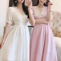 Point pearl long drape dress(No.301303)【mint , white , pink】