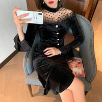 Lady chic black velour midi dress(No.301736)
