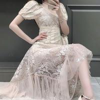 Innocent pink beige lace midi dress(No.301085)