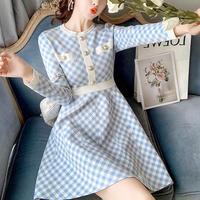 Blue gingham check knit dress(No.301735)