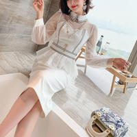 Lady lace docking long dress(No.301135)【2color】