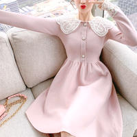 Lace collar baby pink knit dress(No.301950)
