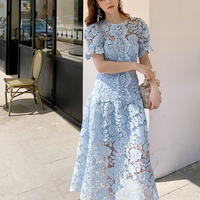 Blue flower cutting long dress(No.301479)