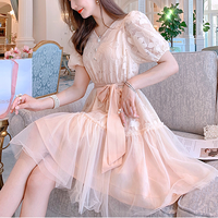 Peach pink flower chiffon dress(No.301194)