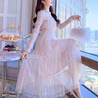 Ruffle lacy long dress(No.300913)