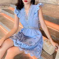 Back ribbon blue cutting lace dress(No.301445)