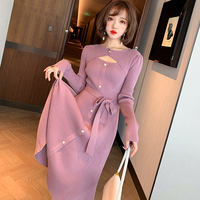 Décolleté cutting pink purple knit dress(No.301714)