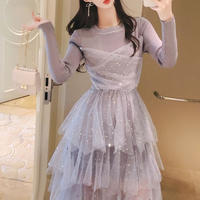 Star tulle kint docking dress(No.300814)【5color】
