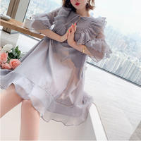Fairy drape frill chiffon dress(No.301180)【white , gray】