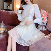 V-cut lacy skirt dress & ribbon blouse set(No.301044)