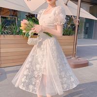 Sensual flower lacy long dress(No.302162)