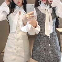 Classic tweed blouse & dress set(No.300843)【3color】