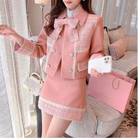 Peach pink melton fabric setup(No.030937)