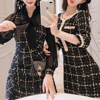 Lady tweed waist line dress(No.300812)【2type / 2color】