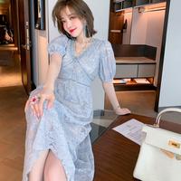 Icy blue cutting lace long dress(No.302202)
