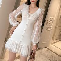 Lady ruffle tulle frill dress(No.301782)【black , white】