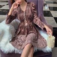 Velvet touch puff sleeve dress(No.301846)【rose , brown】