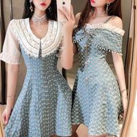Flower lace denim dress(No.301366)【2pattern】