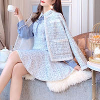 一部即納♡Blue mix tweed jacket / chiffon dress(No.300847)